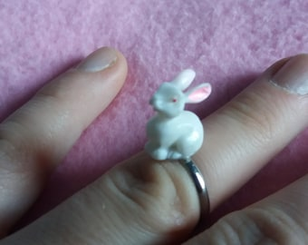 Kawaii cute white bunny ring