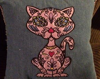 Embroidered Sugar Skull Cat accent pillow 10x10. Original artwork