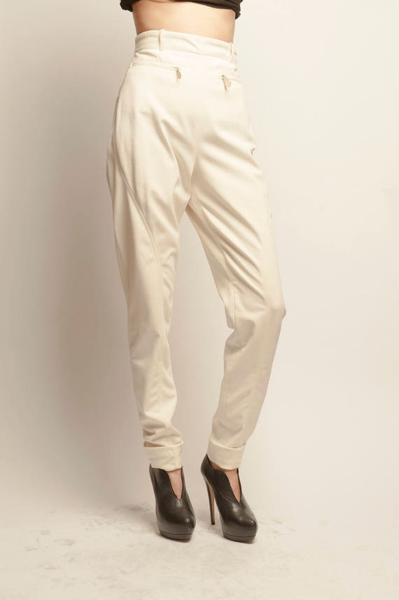 HERMES 1980's white high waist jodhpur pants