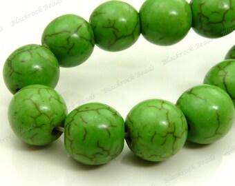 10mm Green Magnesite Matrix Round Gemstone Beads - 20pcs - BE25