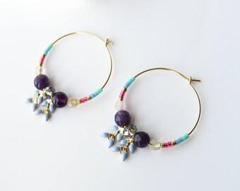 Créoles perles Miyuki et perles gemmes améthyste en plaqué or Gold Filled