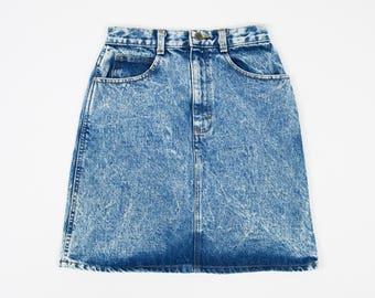 Size 26 Acid Wash Mini Skirt- Vintage Denim Mini Skirt 26 - 80s Denim Skirt- Vintage Denim Skirt W26 - 80s Palmettos Denim Skirt - Acid Wash