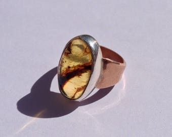 Amber Stone Copper and Silver Ring, Copper and Silver Amber Ring, Copper and Silver Rings, Hammered Copper and Stone Ring