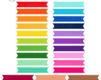 Stitched Ribbons Clipart Set - clip art set of rainbow ribbons, stitched ribbons - personal use, small commercial use, instant download