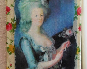 Paper & Vintage Wall Paper COLLAGE on Canvas: MARIE-ANTOINETTE and A Rose, Handmade by Yael Bolender