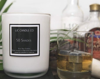 Large 50 SHADES Soy Candle. 90 Hour burn time. Hand-poured.