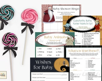 Nightmare Before Christmas-Baby Shower Games Set 01-DIY-Printable Games-Bingo-Celebrity Baby Name-Wishes-Baby Animals-What's In Your Purse