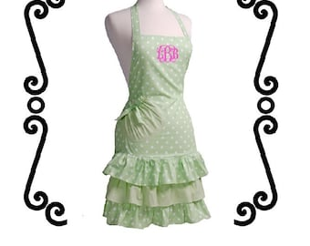 Monogrammed Ruffled APRON - Light MINT GREEN Polka Dot - Custom Embroidery - Perfect Gift for the Bride - Bridal Shower Gift - Hostess Gift