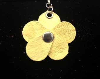 Butter Yellow Planner Flower - Leather Jot Clip-on Planner Charm