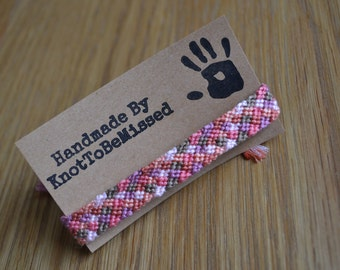 Handmade Woven Macrame Checkerboard Friendship Bracelet Pink