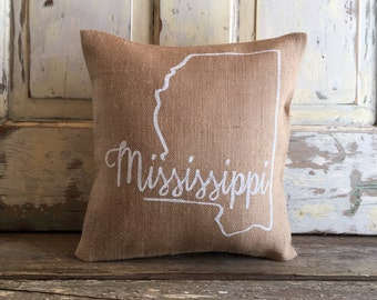 Pillow Cover | Choose Your City, State | State Pillow | Home pillow | Burlap pillow | Graduation | Housewarming, Moving Gift