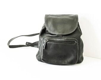 Tignanello Black leather backpack - Leather backpack - Black leather shoulder bag - Small Leather backpack - Tignanello leather bag