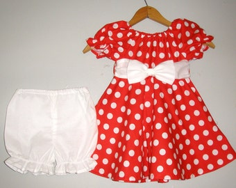Dress Minnie Mouse costume Red  polka dot dress with   WHITE panty  (available in sizes  12 months,2t,3t,4t,5t