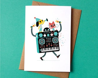 Greetings Card - Synthi Party - by Peskimo