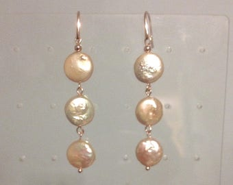 Pale Peach Coin Pearl Earrings in Rose Gold Plated Sterling Silver