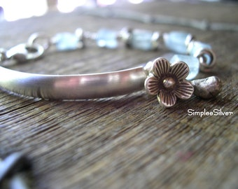 Sterling Silver Bar Bracelet  -  Rough Cut Aquamarine Bracelet  -  Sterling Silver Flower Charm Bracelet  -  SimpleeSilver Jewelry