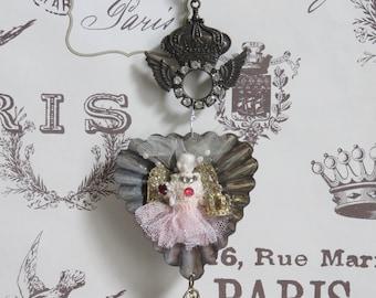 Altered Art Angel Miniature Doll Queen Keepsake in Vintage Madeleine Baking Tin, Swarovski Crystals, Heart Charm, Angel Wings. FREE USA SHIP