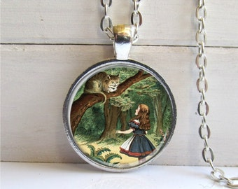 Alice In Wonderland Pendant, Cheshire Cat Necklace, Alice Jewelry