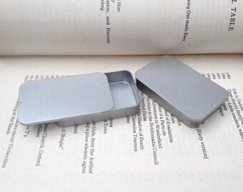 40ml Sliding Lid Tins, Rectangular Metal Tins, Color Silver, Small Organizer, Nice Gift Box, (A Set Of 12 Tin Boxes)