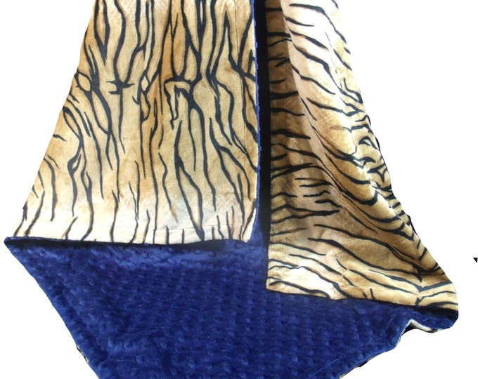 Minky Baby Blanket in Tiger Print with Navy Minky Dot,  Three Sizes