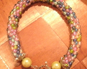 Pink Lime Blue Pastel Hand Bead Crochet Bangle Bracelet