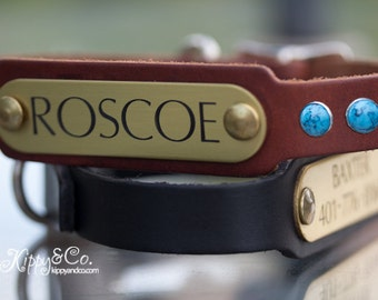 Personalized Dog Collar with Name Plate, Leather Turquoise Dog Collar, Leather Collar with Turquoise, Personalized Leather Dog Collar