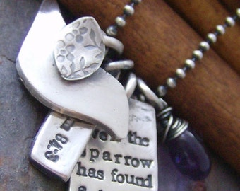 Even the sparrow... hand stamped fine silver and gem stone bird necklace