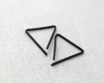 Triangle earrings - minimalist earrings - geometric hoops - triangle hoops - black silver hoops - geometric earrings