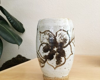 Vintage Tall Ceramic Flower Vase : Hand Made Bohemian Pottery