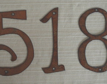 Rustic Metal - 4 inch TO 8 inch - Individual House Numbers - Size Options