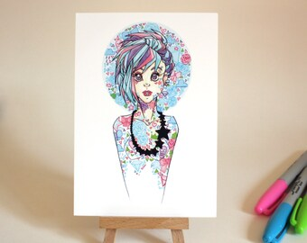 Small Print - Imagine - original marker artwork print - postcard sized A6