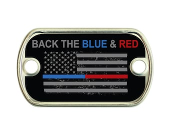 Back The Blue & Red 2 Holes Stainless Steel Mini Dog Tag For Paracord Bracelets