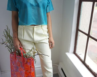 Vintage United Colors of Benetton Yellow Corduroy High Waisted Pants / 1980s / Size 28 - 30