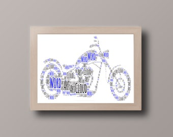 Personalised Motorbike Word Art - A4 size with Frame