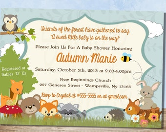 Forest Themed Baby Shower Invitation // Woodland Baby Animal Baby Shower Invitation // Neutral Baby Shower // Party FWTBSI
