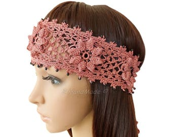 Pink Hand Crochet Headband Dreadlock Irish Lace Head Wrap Boho Pink Rose Wood Beaded Women Ivory Wedding Bridal Cotton Hair Snood