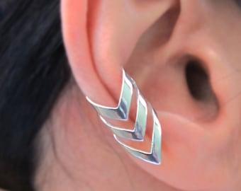 Triple chevron arrow ear cuffs Sterling Silver earrings Arrow jewelry Chevron earrings Sterling silver ear cuff men women ear clip C-197 DD