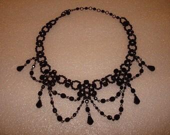 Unique Black Bead Chain Link Bib Necklace