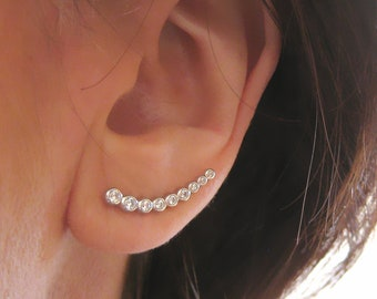 These ear-cuff contours of lobes with zirconium 925 Sterling Silver CZ earrings