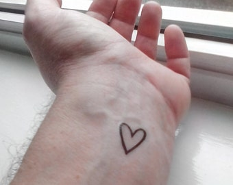 Valentine Heart Wrist or Ankle Temporary Tattoos, Hand drawn outline, Waterproof