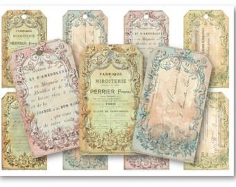 Ephemera Gift Tags Digital Collage Sheet Download - 714 - Digital Paper - Instant Download Printables