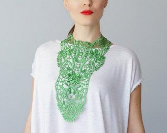 Green Necklace Venise Lace Necklace Lace Jewelry Bib Necklace Statement Necklace Body Jewelry GiftCustom/ ERCOLA