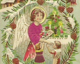 Angel With Children By Christmas Tree – Applied Silk on Angel's Gown – Antique Christmas Postcard