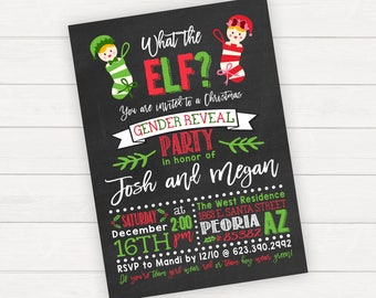 Christmas Gender Reveal Party Invitation, Holiday Gender Reveal Invitation. Printable Gender Reveal Invitations, What the Elf