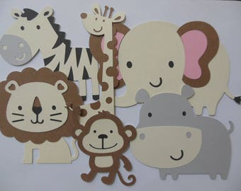 Safari or Zoo Animal Cutouts - Lion, Giraffe, Zebra, Elephant, Hippo and Monkey - Birthday Party Decorations - Baby Shower Decor - Set of 6