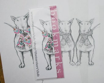 English Bull Terrier with Collaged Scarf  Bookmarks - Pack of Four