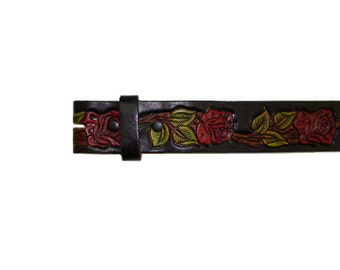 "Black Hand Painted Red Roses 1.5"" Wide Leather Belt - Available up to Size 40"