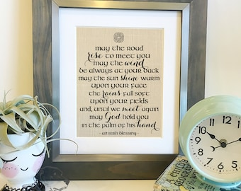 Irish Blessing | May the road rise to meet you | Linen Print | St Patrick's Day | Housewarming, Wedding Gift | Frame not included