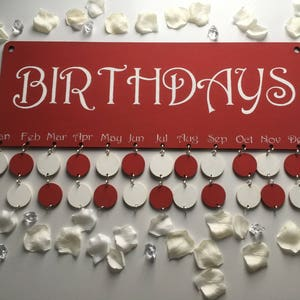 Birthday calender board with 24 tags