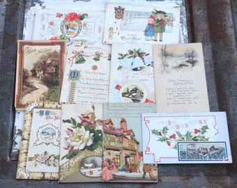 Vintage Postcards New Year's Cards Lot of 10 Vintage Postcards Season Greetings New Year Wishes Great For Scrapbook and Craft Supply